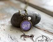 BYE BYE SALE!  Joy Charm Necklace, Inspirational Jewelry, Wedding Bridesmaid Gift,  Friendship Pendant, Choose Joy, Alphabet Charms