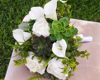 Wedding Succulents and Roses Bouquet - White Roses and Callas Natural Touch Silk Flower Bride Bouquet
