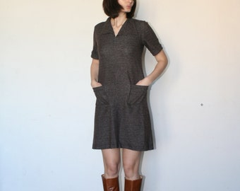 Brown mini dress Soft material Cute dress Twiggy dress 60 s (S/M)