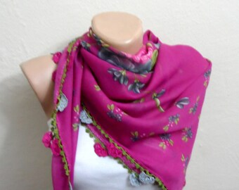 pink scarf gray flower green fushia pink cotton turkish yemeni oya handmade