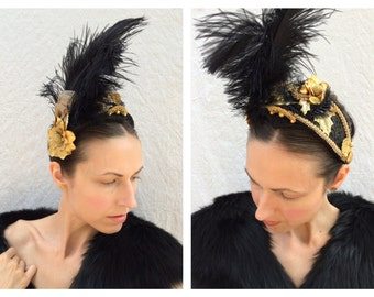 Custom Made to Order Black and Gold Renaissance Rococo Baroque Tudor Ostrich Feather Floral Headpiece Fascinator Gold Costume Felt Hat SOLD