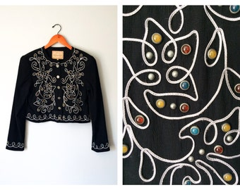 Vintage Black Bolero Jacket Cropped Southwestern Embroidered Western Blazer Double D Ranchwear Cabochon Pewter Size XS Small Medium Large