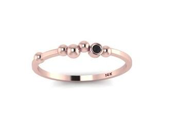 Polka Dot 14K Rose Gold ring with Black Diamond