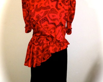 Red and Black 80's Vintage Dress
