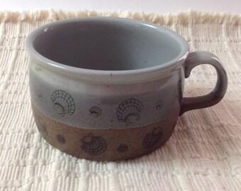 Vintage Otagiri Handled Soup Mug With Seashells, Japanese Stoneware Sea Shells Soup Bowl