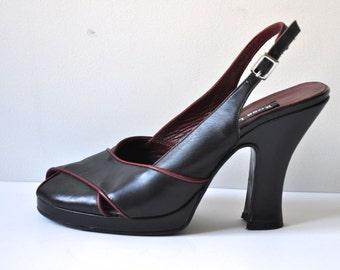 Vintage 90's Black Heels Sandals