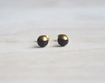 dainty wooden stud earrings dark brown gold bronze, minimal stud earrings 6 mm, everyday earrings