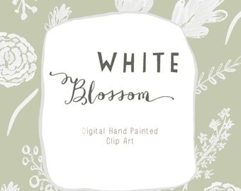 Clip Art Hand Drawn - White Blossom