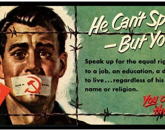 An Unusual Twist To The 1950s Anti Communist Narrative - Freedom Communist Style - Equal Rights And Justice - Vintage Barbed Wire