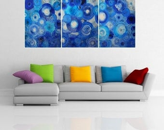 Triptych . Acrylic painting art . Contemporary modern original canvas abstract painting wall art decor. By Alex Senchenko .