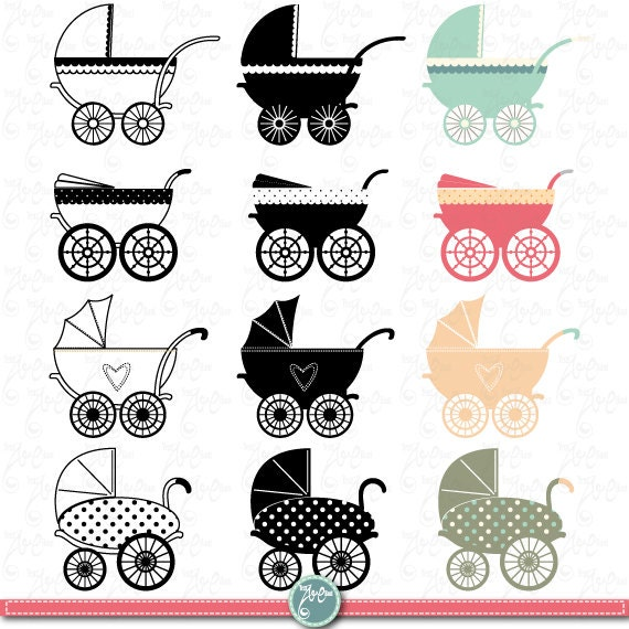 Vintage Baby Carriage Clipart BABY CARRIAGE clip by YenzArtHaut