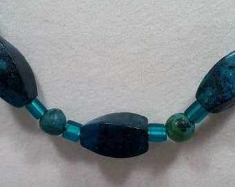 Deep turquoise beaded necklace & earring set.