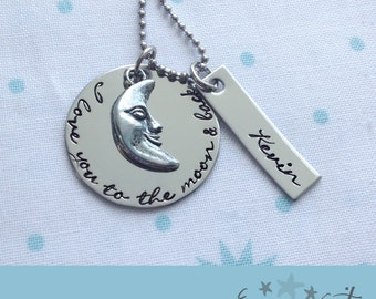 I Love You to the Moon and Back Handstamped Necklace With Custom Name