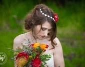 Crystal Belt or Headpiece - Wedding Headpiece, Sash, Ribbon, Bridal, Rhinestone, Headband - Allison Headpiece