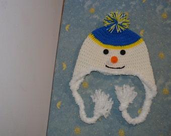 Crochet Snowman hat Child-Adult,earflap snowman hat,crochet hat,,Newborn crochet hat,Custom Snowman baby Hat Frosty Braids