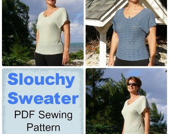 Slouchy Sweater - PDF Sewing  pattern