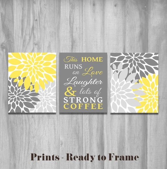 Yellow kitchen wall art this home runs on love laughter and Yellow and gray kitchen decor