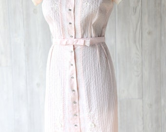 Vintage 1950s pastel pink cotton dress