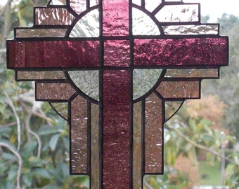 Stained Glass Cross Suncatcher, Orchid Purple #113
