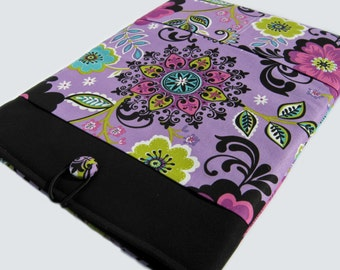Macbook Pro Sleeve, Macbook Pro Case, 15 inch Macbook Pro Cover, 15 inch Macbook Pro Case, Laptop Sleeve, Purple and Black Floral