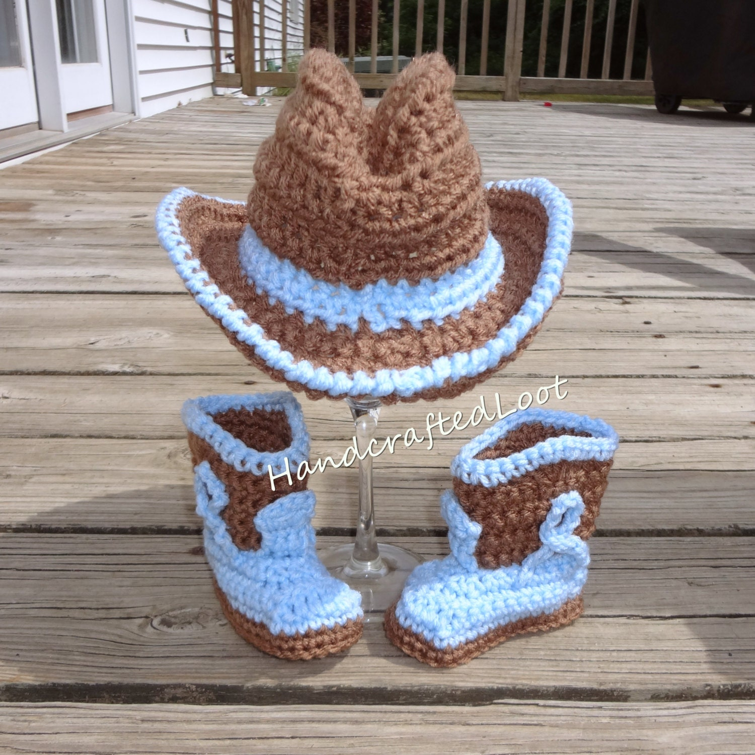 Crochet Newborn Cowboy Hat Boots Photo Prop Outfit Baby Set