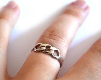Vintage 80s Ring/ Sterling Silver Chain Link Ring/ Silver Boho Ring/ Vintage Jewelry / Mothers Day Gift