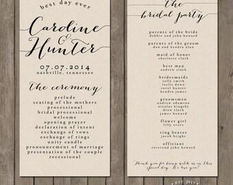 Printable Wedding Program - the Bailey Collection