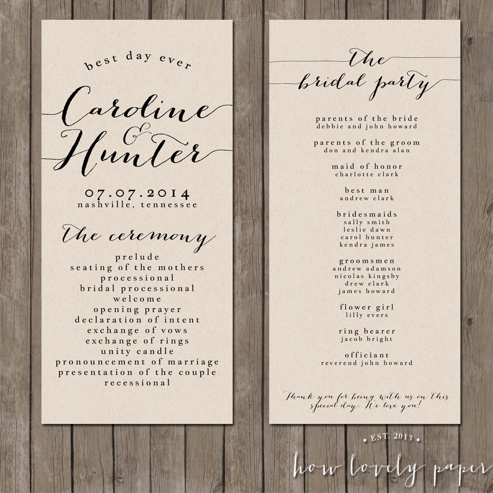 Wedding Programs: Printable Wedding Program The Bailey Collection By