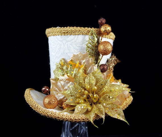 Gold and Cream Holiday Large Mini Top Hat Fascinator, Alice in Wonderland, Mad Hatter Tea Party, Bridal, Victorian, Christmas