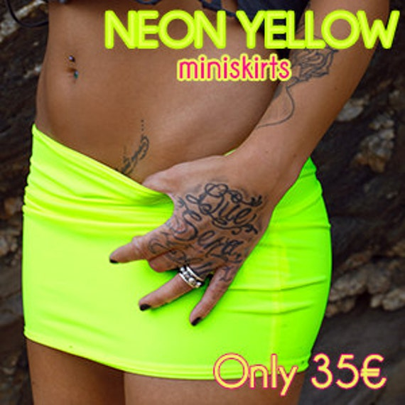 60% CLEARANCE Sale! Neon Yellow Mini Skirt by Sex Kitten Couture