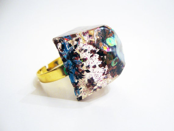 Resin Cube Ring Adjustable Mineral Crystal Bright Statement Handmade Ice Opal Glitter Red Blue Gold Jewel Fun Christmas Decoration