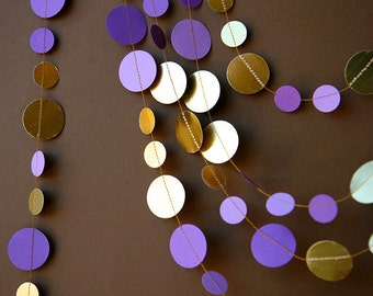 Purple and gold garland, Wedding garland, Bridal shower decor, Wedding decorations, Shimmer garland, Paper garland,  KMCG-8502