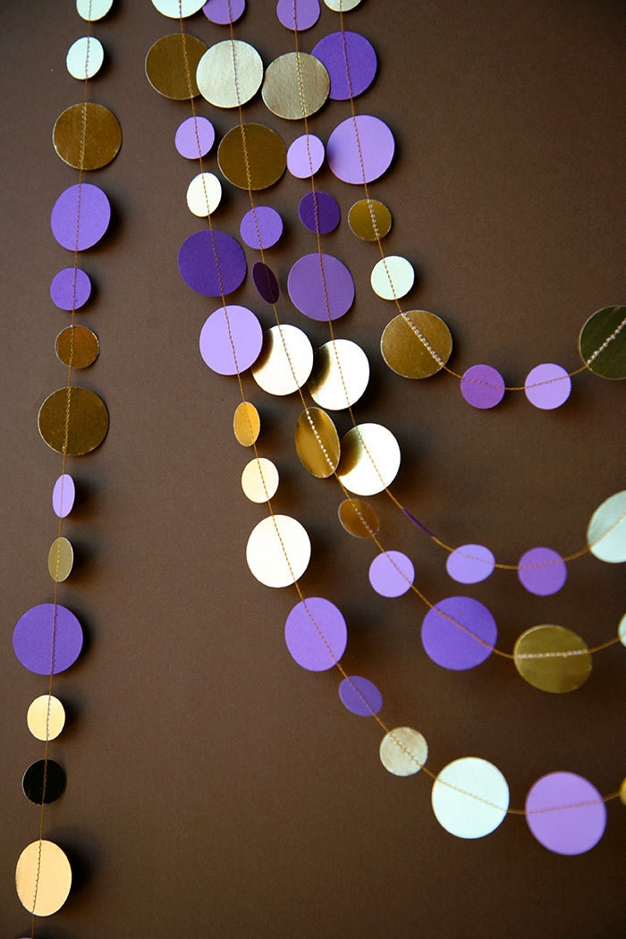 Purple and gold garland wedding garland bridal shower decor for Purple and gold bathroom set