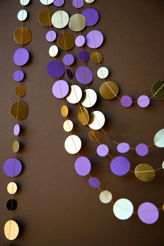 purple and gold garland wedding garland bridal shower decor. Black Bedroom Furniture Sets. Home Design Ideas