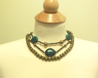 Vintage Beaded 3-strand Necklace Wooden Beads Brown Green Costume Jewelry Hippie Beach Resort Fashion Accessories