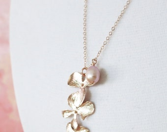 Rose Gold Triple Orchid Flower Necklace - rose gold FILLED chain, triple orchids, rose gold garden Wedding, bridesmaid necklace, best friend