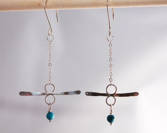 Balanced Sterling Silver and Turquoise Mobile Earrings