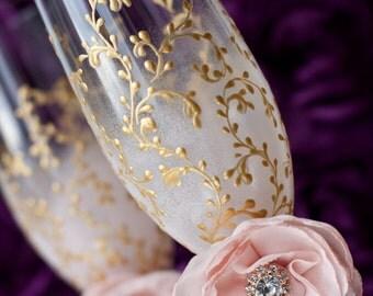 Blush Pink, Gold, Wedding Flutes, Champagne Glasses, Bohemian Wedding, Handmade Flower, Toasting Flutes, Boho, 2 pcs G3/4/13/7/8-0002