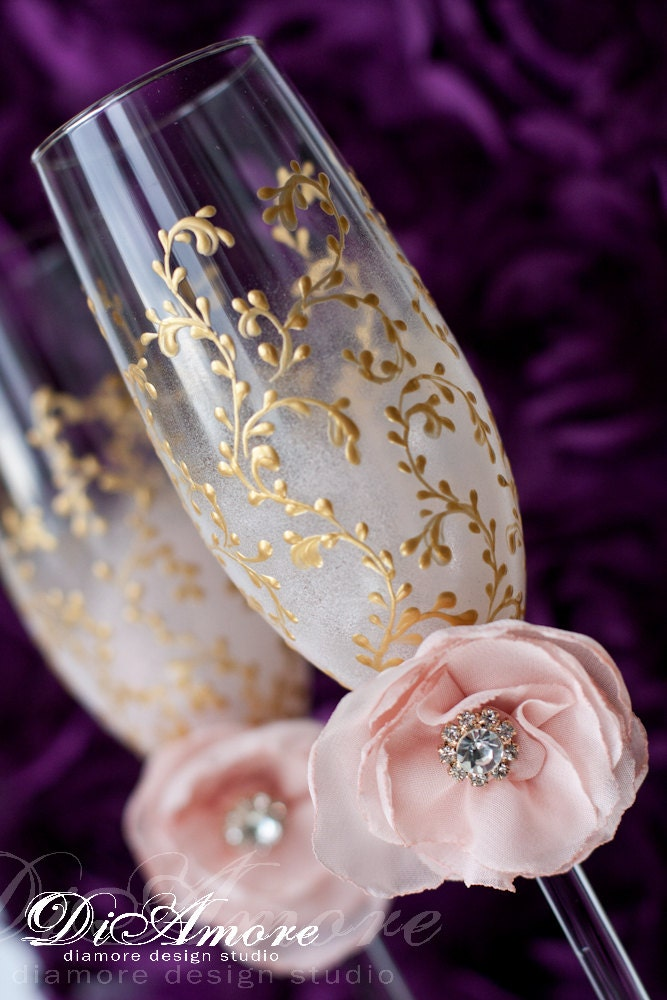 Blush pink gold wedding flutes champagne glasses bohemian