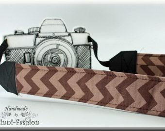 ZIGZAG - Camera strap, DSLR, chevron, brown