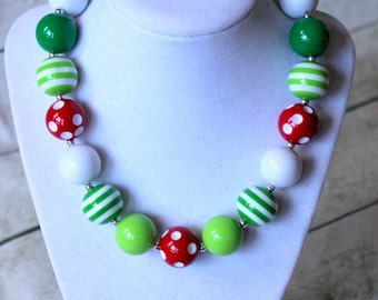 christmas chunky necklace for girls christmas chunky bead necklace big bead necklace bubblegum necklace toddler red lime green white holiday