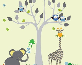 Jungle Safari Tree Wall DECAL, Reusable FABRIC Decal, Jungle Decal - N160A
