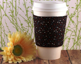 CLEARANCE / Fabric Coffee Cozy / Little Dots Coffee Cozy / Polka Dot Coffee Cozy / Coffee Cozy / Tea Cozy