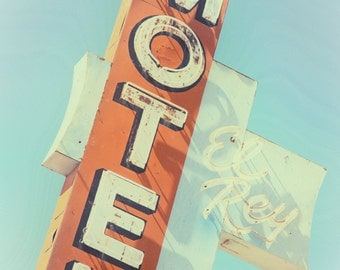 Vintage Neon Sign El Rey Motel Neon Sign Photography Route 66 Decor Retro Home Decor Route 66 Wall Art Mid Century Modern Decor Motel Sign
