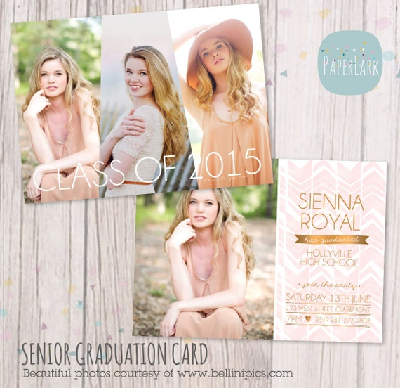 Senior graduation card photoshop template by paperlarkdesigns for Free senior templates for photoshop