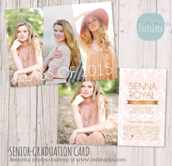 free senior templates for photoshop - senior graduation card photoshop template by paperlarkdesigns