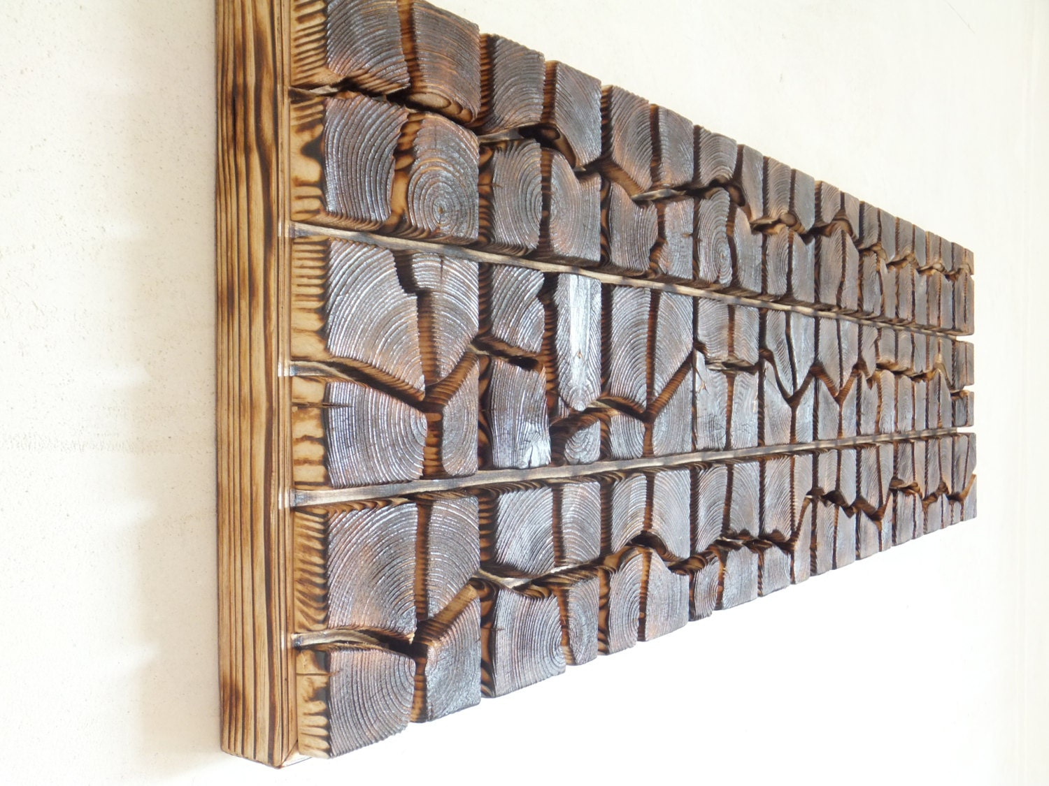 Unique wooden wall art sound wave 40 x 12 x by for Unique wall art