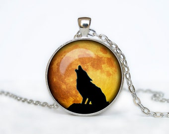 HOWLING WOLF MOON Pendant wolf necklace wolf jewelry moon necklace moon pendant moon jewelry for men for her  black