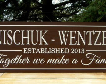Blended Family Gift Wedding Gift Personalized sign Custom Wooden signs last name sign Custom wedding gift Established family sign Plaque