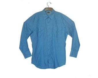 Vintage 80s  Western Shirt Blue Men's Large